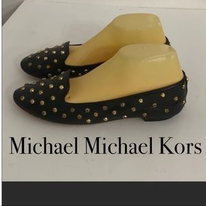 Michael Kors black studded leather flats 8.5
